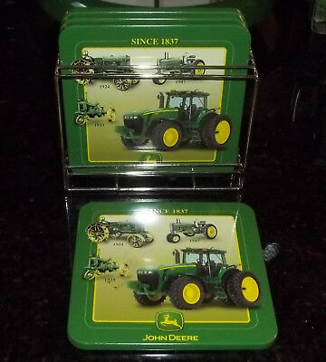 New Set of 4 Coasters John Deere  with Holder, Tractors