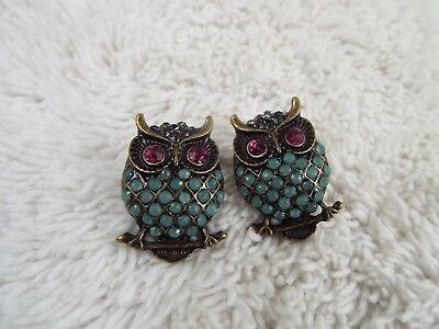 Brass-tone Blue Purple Owl Pierced Earrings (C27)