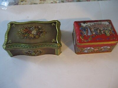 Two Vintage Embossed Tin Containers Hinged Germany