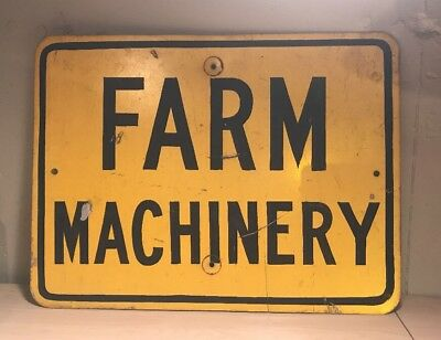 Vintage Yellow Farm Machinery Sign - Metal Great Condition