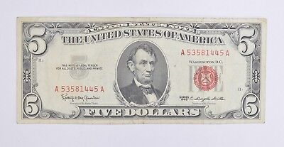 Really Crisp 1963 Red Seal $5.00 United States Note - Better Grade *579