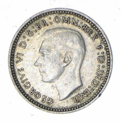 Roughly Size of a Dime - 1942 Australia 3 Pence - World Silver Coin *206