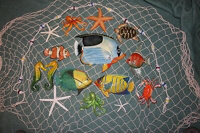 (17) Seafood Restaurant Decor Coral Reef Netscape Deluxe Set of 17 pieces, SS-02