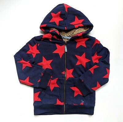 Mini Boden Shaggy Lined Navy/Red Star Print Jacket Hoodie *Flaw JA1-302