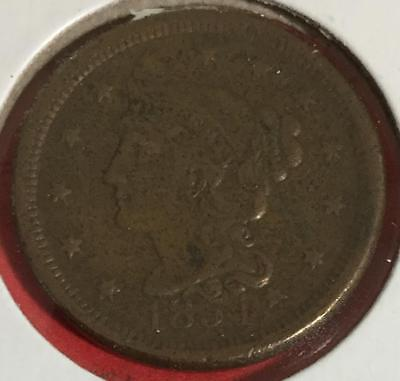 1854 US LARGE CENT Choice VF Details! Old US Coins!