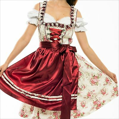 Germany,German,MAY,Trachten,Oktoberfest,Dirndl Dress,3-pc.Sz.22,Wine,Red,Rose