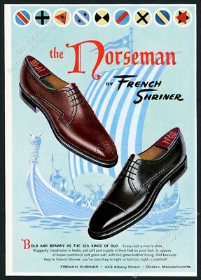 1963 Viking boat art French Shriner Norseman men's shoes vintage print ad
