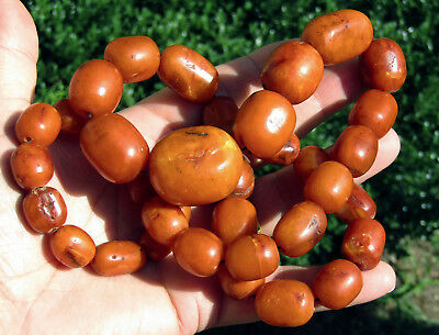 Rare Chinese Butterscotch Baltic Amber 18Th/19Th C. 100% Natural Bead Necklace