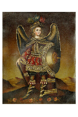 Archangel Michael Original Colonial Cuzco Peru Folk Art Oil Painting On Canvas