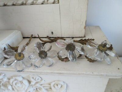 4 EXQUISITE Old GLASS Crystals FLOWERS Metal Stems from Italian Chandelier