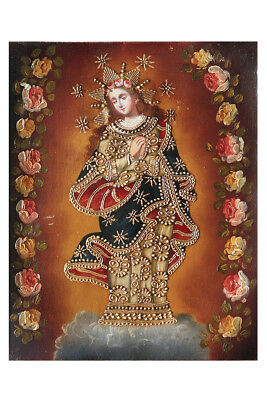 Immaculate Virgin Mary Original Colonial Cuzco Peru Art Oil Painting On Canvas