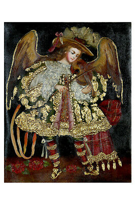 Musician Archangel Original Colonial Cuzco Peru Folk Art Oil Painting On Canvas