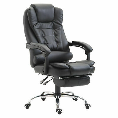 Office Chair Computer Gaming Racing Swivel Chair PU Leather High Back Black
