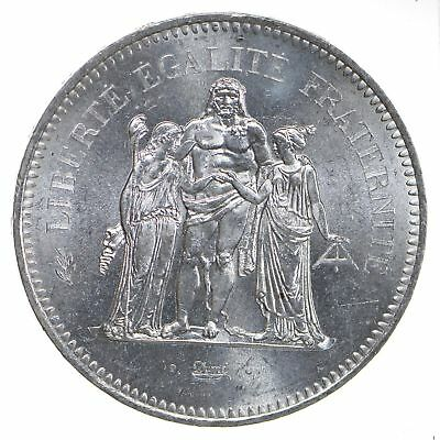 Republic of France 1976 50 Francs Silver Coin - 90% Silver - Weighs 30g *984