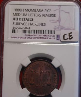 1888H Mombasa Pice Medium Letters Reverse NGC Graded Au Details Surface Hairline