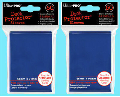100 Ultra Pro DECK PROTECTOR Card Sleeves Blue NEW Standard Size Gaming mtg ccg