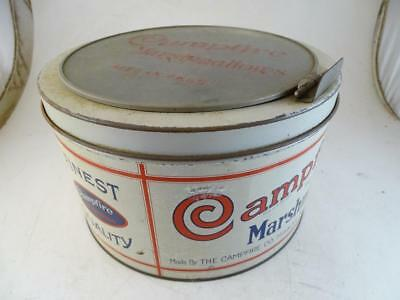 Antique Campfire Marshmallows Advertising Tin Can General Store Display Glass