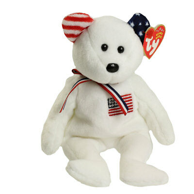 TY Beanie Baby - AMERICA the Bear (White Version - Internet Excl) *EARS REVERSED