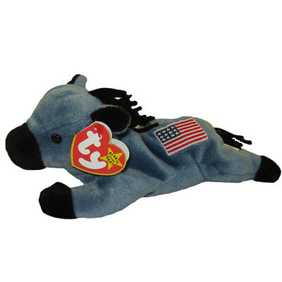 TY Beanie Baby - LEFTY the Donkey (Original Release - 4th Gen hang tag) (8 inch)
