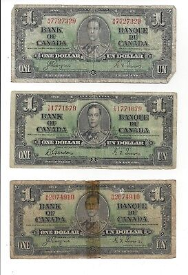 Lot of five (5) Canadian Canada One Dollar Bill Note 1937 bills notes circulated
