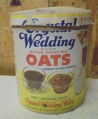 """Vintage Crystal Wedding Oats """"The Quaker Oats Company"""" Box Container Cylinder"""