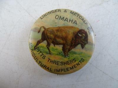 Antique 1898 Lininger Metcalf Co Omaha NE Pitts Threshers Implements Pin Button