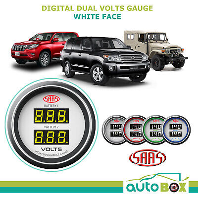 SAAS Dual Volts Gauge White Face 4 Colours Dual Battery 4WD Landcruiser White