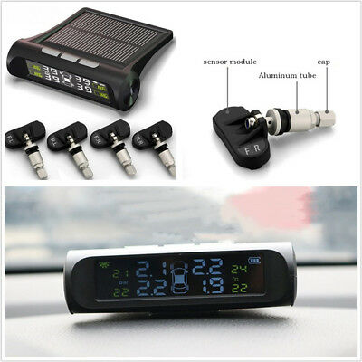 Solar Powered Autos Tire Pressure Monitoring System Wireless LCD Display+ Sensor