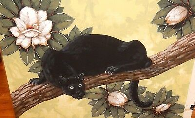 Seay Huge Original Watercolor Black Panther Cat In A Tree Painting