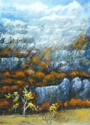 ACEO original Woodland Fall painting Autumn landscape mountains art card sign
