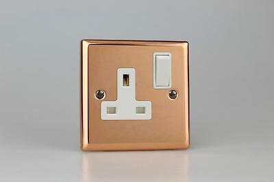 Varilight Polished Copper 1-Gang 13A Double Pole Switched Socket White Insert