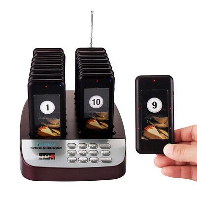 Retekess 999CH Restaurant Shop Wireless Calling Paging Queuing System 16*Pager