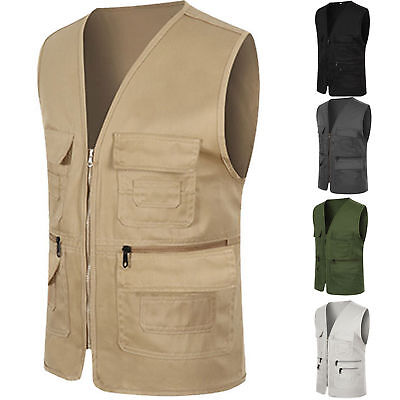 Mens Outdoor Fishing Hiking Waistcoat Pocket Photography Vest Work Outwear New