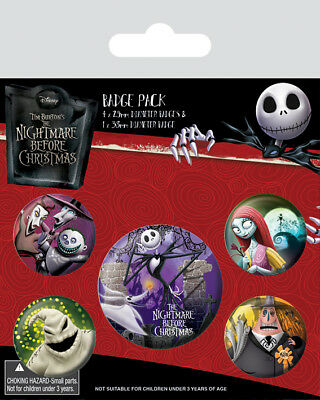 Button Badge 5er Pack NIGHTMARE BEFORE CHRISTMAS - Characters NEU BP80585