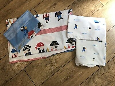 Next Boys Pirate Toddler Bed Duvet Cover, Fitted Sheet And Pillowcase Set Vgc