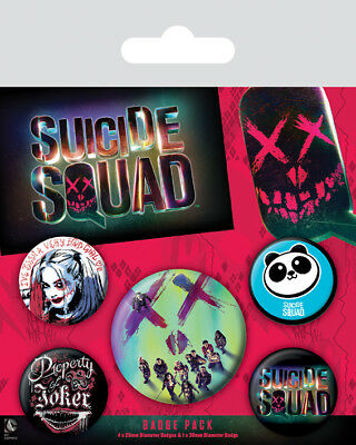 Button Badge 5er Pack SUICIDE SQUAD - Face - Group 1x38mm & 4x25mm BP80558