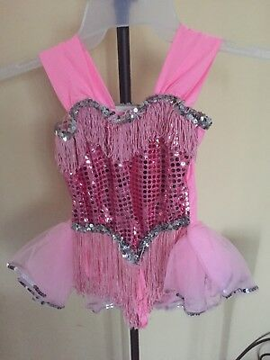 """Girls Pink Sequins & Frills Tap Ballet Dance Costume Child Small? Chest 30"""""""