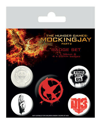 Button Badge 5er Pack HUNGER GAMES - Logos - Mockingjay 2  1x38mm & 4x25mm 80523