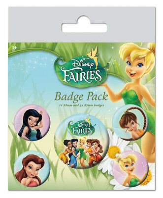 Button Badge 5er Pack DISNEY FAIRIES  1x38mm & 4x25mm BP80516