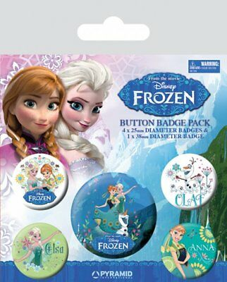 Button Badge 5er Pack FROZEN - Anna, Elsa, Olaf (Disney) 1x38mm & 4x25mm BP80508