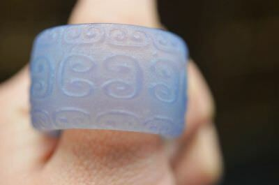 Excellent Chinese natural jade carved Fingerstall/Thumb Ring