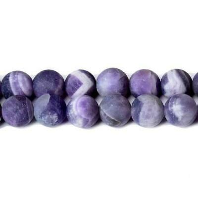 Sage Amethyst Round Beads 8mm Purple 40+ Pcs Frosted  Gemstones Jewellery Making