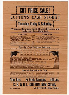 Early 1900's Broadside Cumberland Mills, Maine Clothing Store
