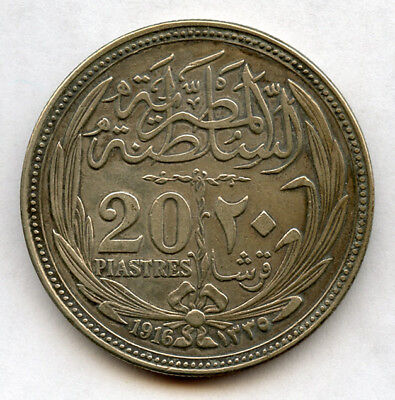 Egypt 1916-Ah1335 Issue 20 Piastres Silver Crown,nice Toning Choice Xf.