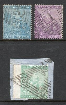 CAPE of GOOD HOPE THREE EARLY STAMPS FINE USED