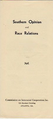 Southern Opinion and Race Relations - 1938