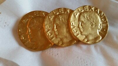 Alexander the Great 3 Coin Brooch Pin Gold-tone, excellent vintage jewelry