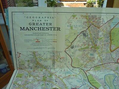 "VINTAGE GEOGRAPHIA LARGE TOWN PLAN MAP GREATER MANCHESTER ON LINEN 48 X 39"" 50s?"