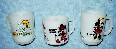 Vintage Hocking Fire-King SNOOPY (French Toast)), Mickey & Minnie Mouse Mugs VGC