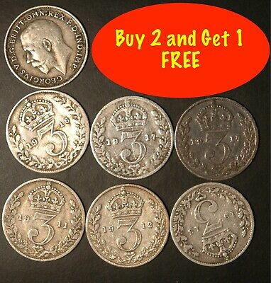 Threepence George V 1911 to 1919 .925 Silver Choose your Dates